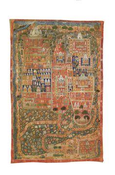 Jain Shatrunjaya Pata<br>Pigments on cloth<br>Western India Pichwai Paintings, Indian Paintings, Jain Temple, Medieval Life, Tribal Art, Indian Art, Impressionist, Modern Art, Bohemian Rug
