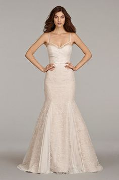 Blush color lace wedding dress. Hayley Paige, Spring 2014