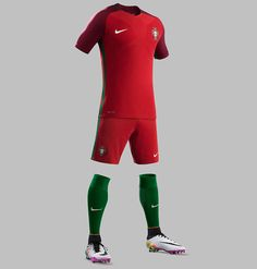 The new Portugal Euro 2016 Home Kit combines two shades of red with green elements, creating a ultra-stunning design.