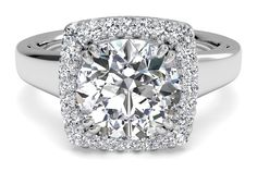 Cushion French-Set Halo Diamond Engagement Ring (Not Including Center) [share]