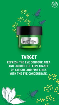 Made with Edelweiss plant stem cells, our Drops Of Youth youth bouncy eye mask revives the eye area while you sleep. Combats the first signs of ageing. Body Shop At Home, The Body Shop, Eye Mask Target, Best Body Shop Products, Skin Products, Body Shop Skincare, Interactive Facebook Posts, Overnight Mask, Body Bars