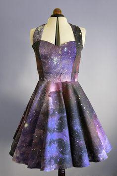 Space nebula dress Womens galaxy halterneck  50's by Cyanidekissx
