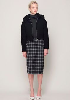 Short Down Jacket, Cashmere Wool Turtleneck, and Graphic Check Skirt