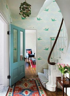 I love this wallpaper! Wish I could achieve a similar effect with cut-out birds (commitment to wallpaper is anathema to me).