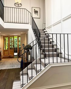 """At KWD we love a little """"before and after"""" action. We were engaged to create homeliness, warmth, texture and interest in this entrance… Kate Walker, Our Love, Entrance, Stairs, Texture, Lighting, Create, Interior, Action"""