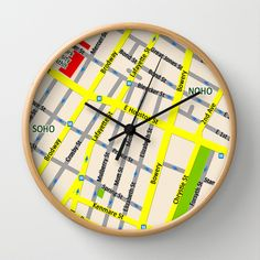 NEW YORK map design - SOHO area Wall Clock by Efratul - $30.00