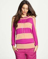 Striped Dolman Sleeve Sweater - For a dash of wear-now wow, weve updated easy, effortless styles in bold stripes and brilliant new hues. Jewel neck. 3/4 dolman sleeves. Ribbed neckline, cuffs and hem.