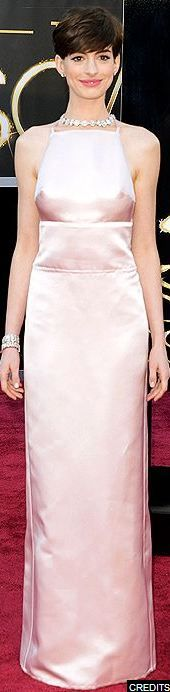 Ann Hathaway at the 2013 Academy Awards - Prada  Not a huge fan of this dress.  And the darts in the front were weird.