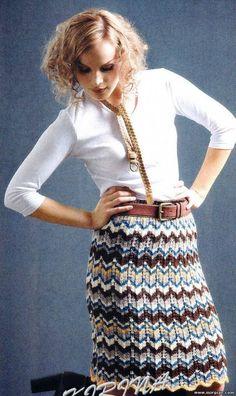 вязаная юбка зигзаг 3