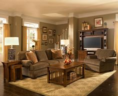 My dream living room.... I love mission style furniture!