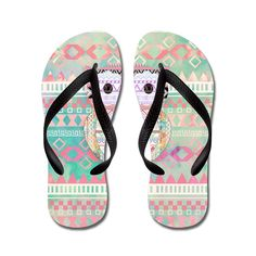 Nyou Whimsical Tribal Owl Pastel Girly Tie Lightweight Unisex Flip Flops Flat Sandals Available in Various Colors and Sizes -- More info could be found at the image url. (This is an Amazon affiliate link)