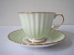 Vintage ROYAL STAFFORD English Tea Cup and Saucer Set English Floral Tea Set Gift for Mom Bone China Flowered Gold Gilding