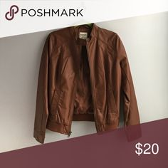 Old Navy Faux Leather Jacket Faux Leather Jacket with full front zip and snap neck closure Old Navy Jackets & Coats