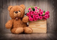 Cute Teddy Bear Wallpaper with Pink Roses in Box - HD Wallpapers Happy Teddy Day Images, Happy Teddy Bear Day, Cute Teddy Bears, Valentine Day Week, Valentines Day Poems, Happy Valentines Day Images, Free Valentine Clip Art, Valentine Coloring Pages, Valentine Hearts