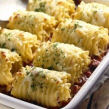 Chicken and Cheese Lasagna Roll-Ups.
