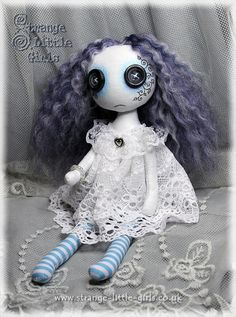 8 inch spooky button eyed ghost cloth art doll Ellie May Ether by StrangeLittleGirlsUK