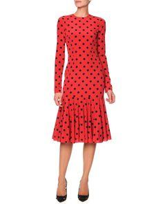 Dolce & Gabbana Long-Sleeve Polka Dot Flounce Dress, Red/Black