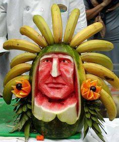 Fruit Decorations Food Art & This Watermelon Art Blow Your Mind L'art Du Fruit, Deco Fruit, Fruit Art, Fruit Cakes, Fruit Salad, Banana Fruit, Fresh Fruit, Veggie Art, Fruit And Vegetable Carving