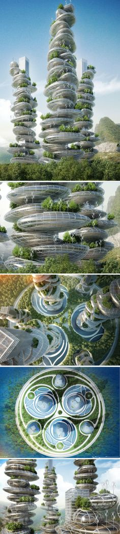 ☮ Farming in the sky Sustainable 'farmscrapers' for Shenzhen unveiled by Vincent Callebaut Architects from http://www.worldarchitecturenews.com/