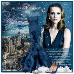 Winter Magic by petri5 on Polyvore featuring moda, Manolo Blahnik, Oscar de la Renta, Vera Wang and Tt Collection
