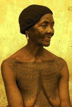 Holi woman and her tattoos, southern Benin