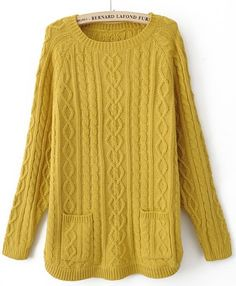 Yellow Long Sleeve Pockets Pullovers Sweater