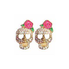Pink Rose Flower Full Rhinestone Skull Stud Earrings (£2.00) ❤ liked on Polyvore featuring jewelry, earrings, white, pink skull earrings, pink flower earrings, skull earrings, pink rhinestone earrings and pink stud earrings