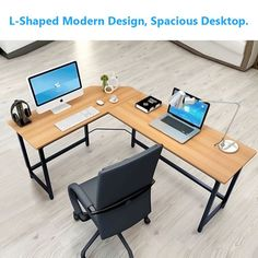 Tribesigns Modern L-Shaped Desk Corner Computer Desk PC Laptop Study Table Workstation Home Office Wood & Metal, Black Diy Office Desk, Office Computer Desk, Pc Desk, Home Office Desks, Home Office Furniture, Office Decor, Computer Rooms, Computer Tables, Decorating Office