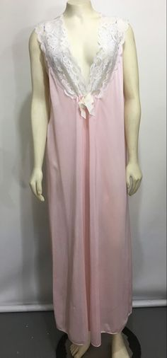 Secret Accents Womens M Pink Long Nylon Silky Nightgown Sleeveless Made in  USA  SecretAccents   bf678a074