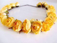 tiara de flores amarela - cabelos sem marca