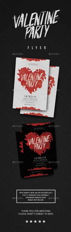 #Valentine Party #Flyer - Flyers Print Templates Download here: https://graphicriver.net/item/valentine-party-flyer/19367067?ref=alena994