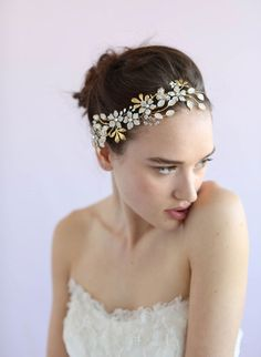 White gold and diamante, Twigs & Honey bridal headpieces.