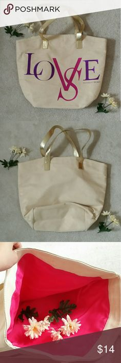 Victoria Secret LOVE tote Need a big tote that's pretty and spacy? Here is an ideal ine for you! Condition is good except for the few spots on the picture above. Love this but not the price? Then try making an offer! Victoria's Secret Bags Totes