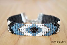 Bead Loom Bracelet // Black and White Bracelet // Blue by Gomeow, $22.95