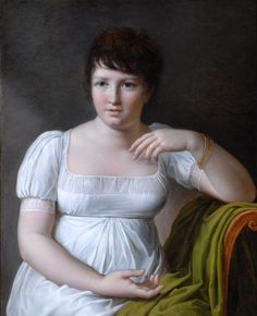 Note the short hair // Portrait of Pauline Bonaparte by Louise-Marie-Jeanne Mauduit, 1806 France, the Bowes Museum
