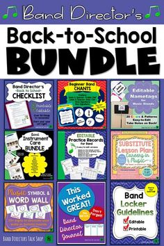 Band directors, if you teach middle school band, check out this awesome back to school bundle to get your band students off to a great start at the beginning of the school year.This comprehensive packet for band directors includes a back-to-school checklist, beginning band chants, editable music stand nametags, instrument care & maintenance instructions, editable music practice records, band sub plans, music word wall, band director journal, band locker guidelines & more. Music Lesson Plans, Music Lessons, Elementary Music, Upper Elementary, Music Classroom, Music Teachers, Music Word Walls, Music Theory Games, Back To School Checklist