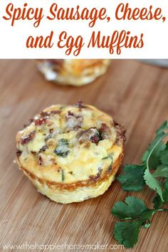 Spicy Sausage, Egg and Cheese Muffins are a healthy, carb-free grab and go breakfast recipe!
