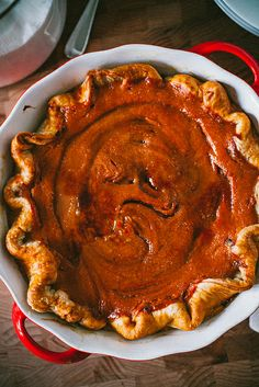 Pumpkin Pie by Crepes of Wrath, via Flickr (has an optional swirl of caramel sauce and you can torch it to brulee it, filling has a can of sweetened condensed milk in it!)