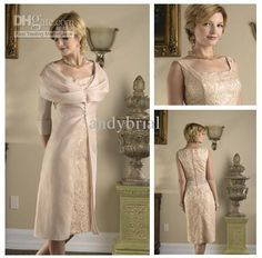 Wholesale American Style Square Champagne Lace Sheath Tea-length Sexy Mother Of The Bride Dresses 2013, Free shipping, $113.12-129.99/Piece | DHgate