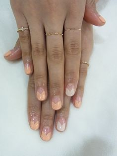 Nude and peach negative space nails