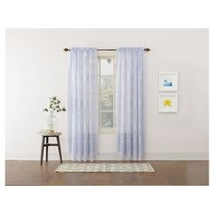 No. 918 Alison Floral Sheer Lace Rod Pocket Curtain Panel,