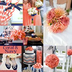 Like the flowers & the pattern accents on tge table settings. Coral and Navy Color Story | #exclusivelyweddings