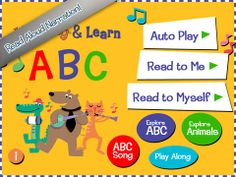 Used in Just 2s, 3s Please, Combined Preschool, and On My Own Storytimes. This multipurpose app features an alphabet story, the ABC song, and musical animals playing a variety of instruments.