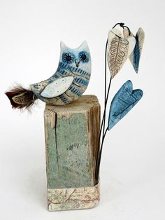 Little owl and three hearts - Shirley Vauvelle