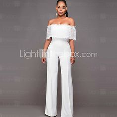 Women's Wide Leg JumpsuitsCasual/Daily / Club Sexy / Simple Solid Off-The-Shoulder Lace / Backless Boat Neck Short Sleeve Mid Rise Micro-elastic - USD $15.99 ! HOT Product! A hot product at an incredible low price is now on sale! Come check it out along with other items like this. Get great discounts, earn Rewards and much more each time you shop with us!