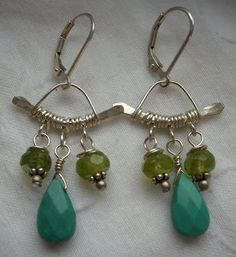 Sweet Nothings Jewelry — Turquoise Pagodas - $50 Peridot, turquoise and hammered sterling silver, on sterling lever-back wires.