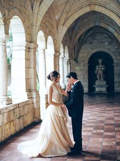 Old World Wedding Inspiration at Miami's Ancient Spanish Monastery - Style Me Pretty Corset Back Wedding Dress, Illusion Photos, Old World Wedding, Sarah Photography, Spanish Wedding, Miami Wedding, Princess Wedding Dresses, Wedding Photo Inspiration, Spanish Style