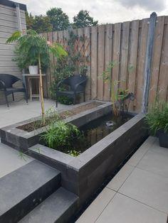 Diy Hacks, Diy Pond, Water Features In The Garden, Diy Garden, Gardening, Small Gardens, Fish Tank, Garden Inspiration, Terrace