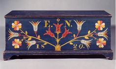 Polychrome Pine  Schoharie County, New York  dated 1829  17 1/2 inches high  43 1/2 inches wide  17 1/2 inches deep
