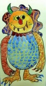 Monster Watercolor Drawing and Painting inspired by Where The Wild Things Are by Maurice Sendak